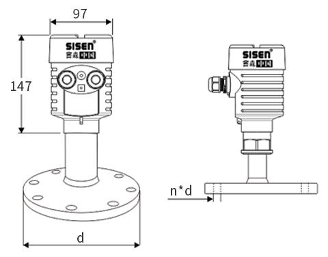 卫生平面型雷达物位计产品尺寸