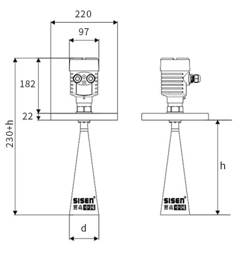 高频雷达物位计产品尺寸