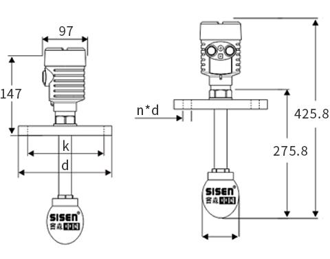 水滴天线型雷达物位计产品尺寸