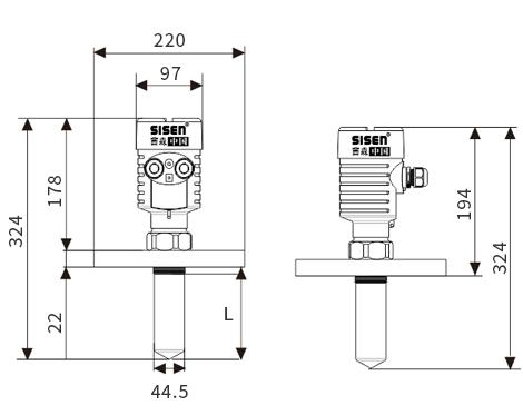 防腐雷达液位计产品尺寸