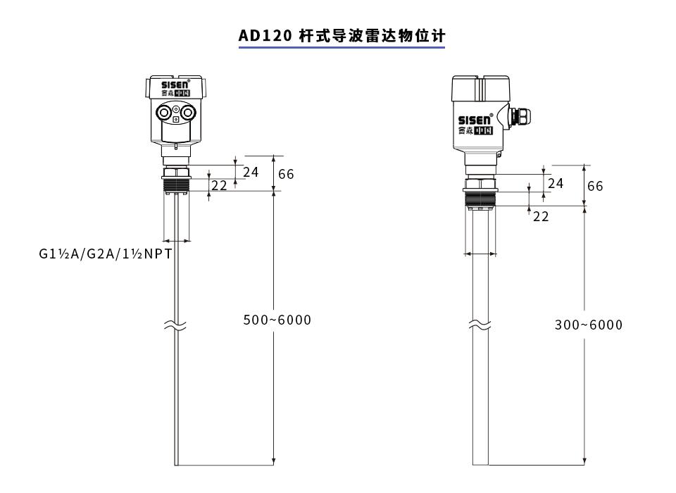 杆式导波雷达物位计产品尺寸