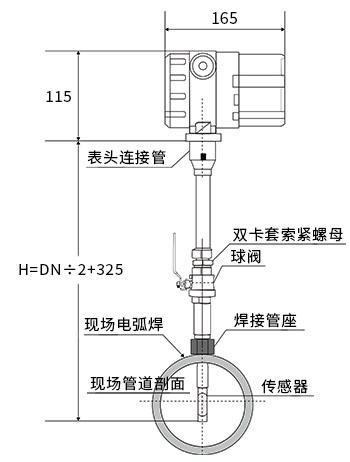 西森插入式热式气体质量流量计安装示意图