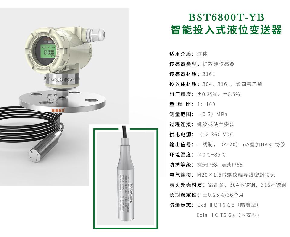 BST6800T-YB智能投入式液位计厂家