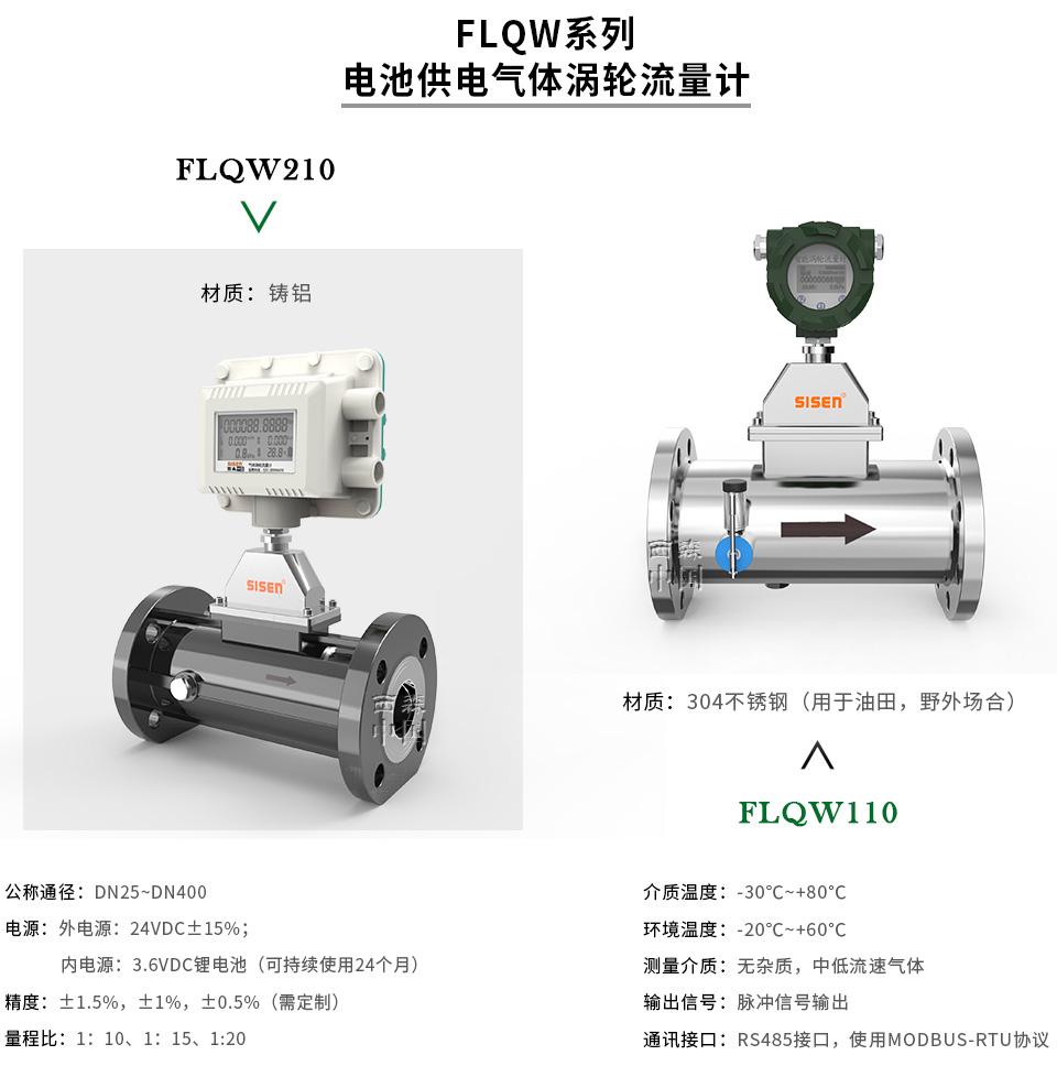 FLQW系列电池供电气体涡轮流量计-厂家
