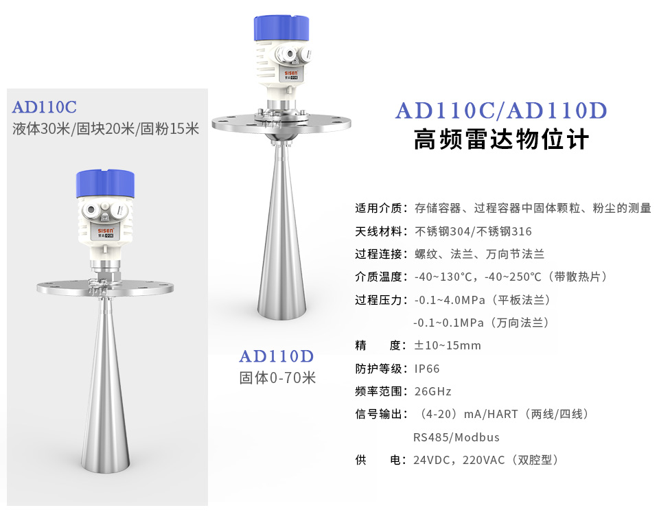 西森中国AD110C/AD110D高频雷达物位计
