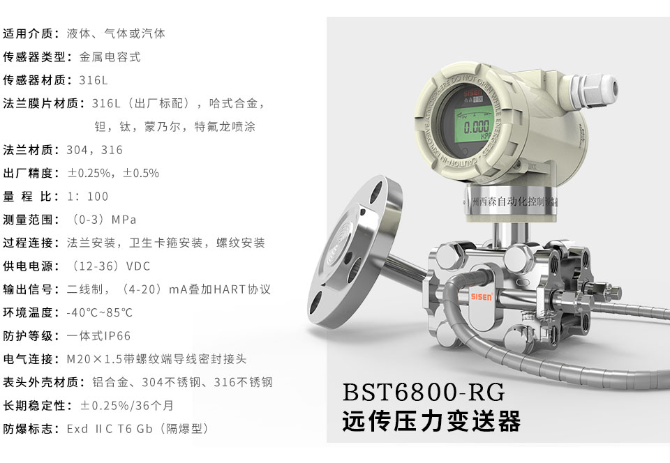 BST6800-RG系列远传压力变送器厂家