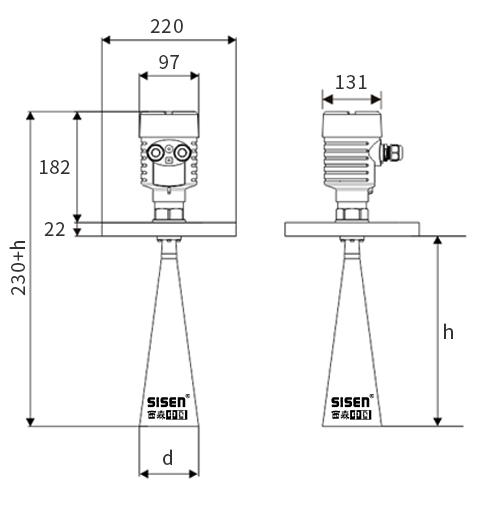 高频雷达液位计产品尺寸
