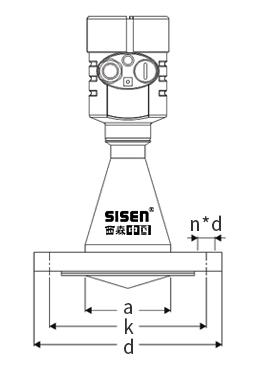 液体锥面式雷达物位计产品尺寸