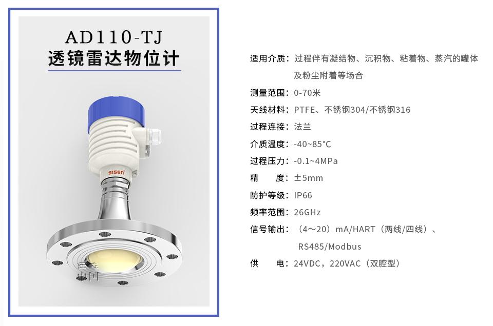 AD110-TJ透镜雷达物位计西森工厂